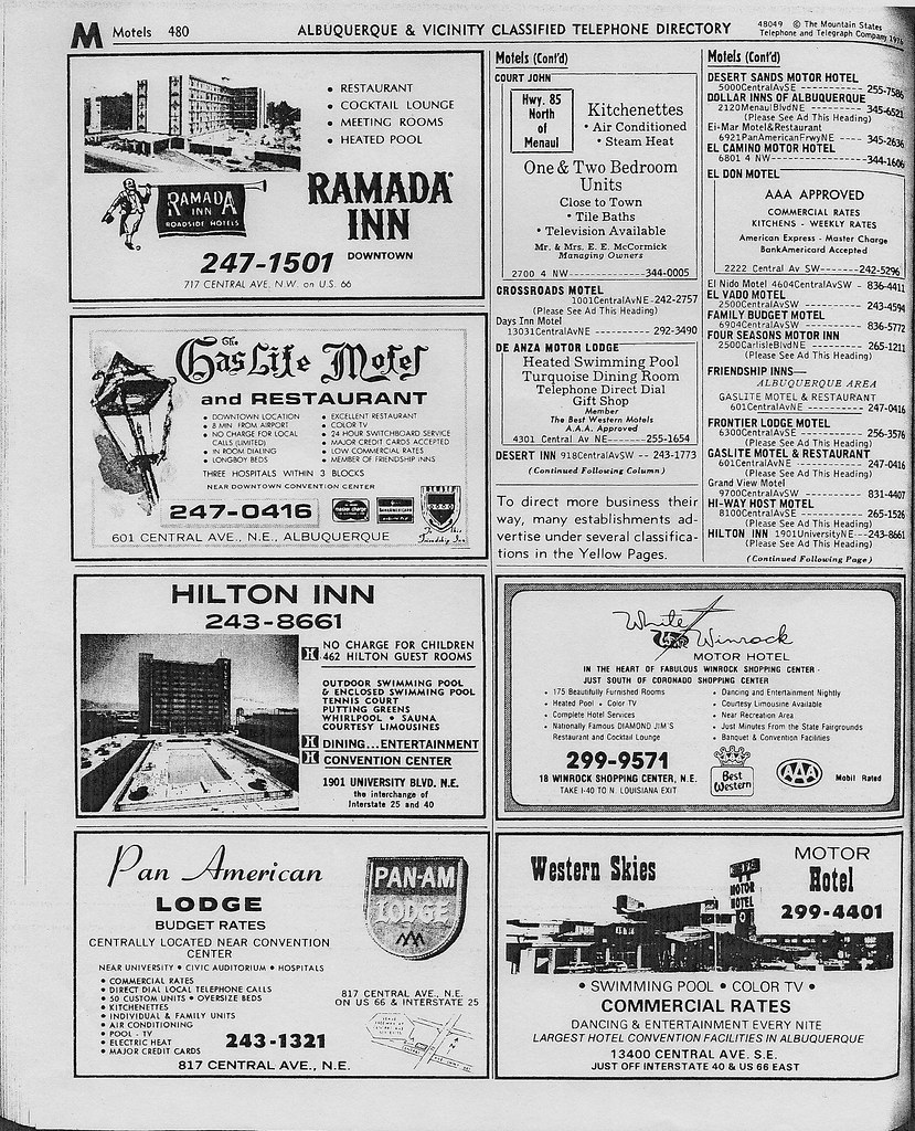 Albuquerque motel listings, 1976 02