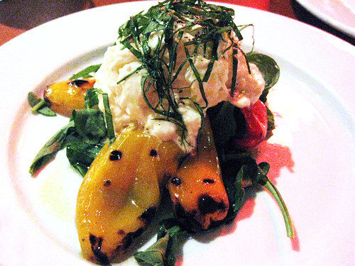 Buratta over Peppers Salad