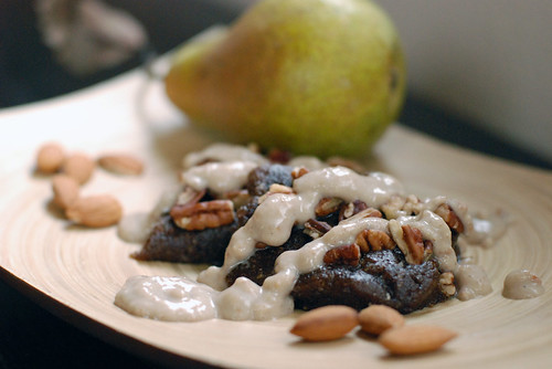 Raw Masala Almond Pear Sauce over raw carob nut brownies