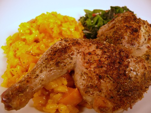 Cornish Game Hen and Butternut Squash Risotto