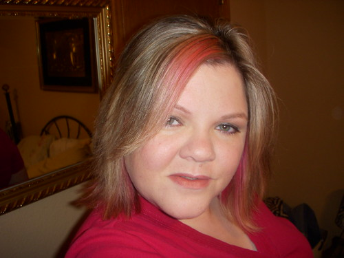 red hair with pink streaks. Pink streaks for Breast Cancer