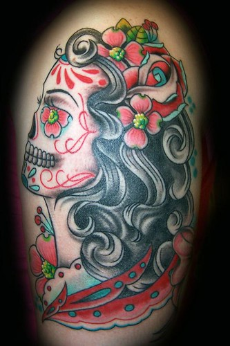 lily tattoo · scarlett sugar skull tattoo
