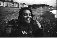 Johanna Quads (Jim Blob Blann) Tags: camera sea up dead 50mm holga cosina grain jo aberystwyth memory 17 seafront thumbs csm cosinon era100 autaut