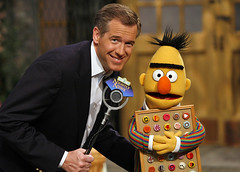 Brian Williams interviews Bert (photo courtesy of Sesame Street Workshop)