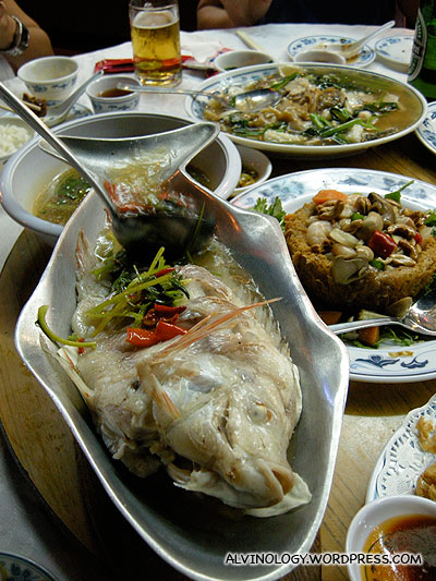 Steamed fish with sour spicy soup