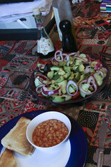 Beans on Toast with Salad
