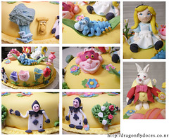 Alice in Wonderland (details) (Dragonfly Doces) Tags: flowers white rabbit mushroom cake cat wonder cards cheshire alice lewis disney pasta fantasy land americana bolo carroll japo gunma catterpilar