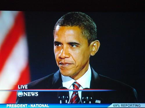 Barack Obama Delivering his Victory Speech