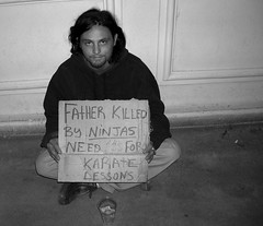 Homeless Guy (TraySee) Tags: vegas sign funny lasvegas ninja homeless karate strip panhandler lookalike bammargera 10millionphotos myfatherwaskilledbyninjas