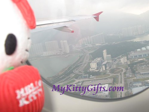 Hello Kitty's Aerial View of Hong Kong from Cathay Pacific Airlines