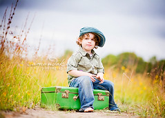 Just watchin' stuff ({amanda}) Tags: boy cute hat spring afternoon child mykid 85mm overcast naturallight 3years suitcase threeyears amandakeeysphotography