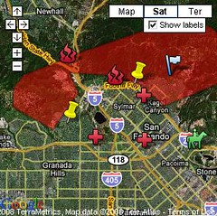Sylmar, Orange County fire map
