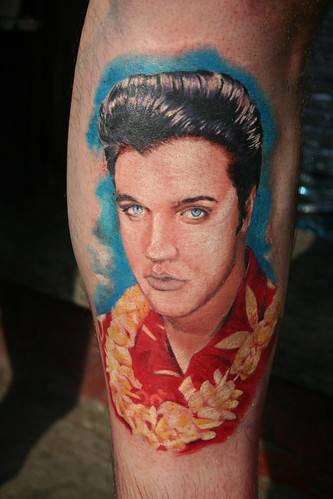 Elvis Presley tattoo portrait by Mirek vel Stotker