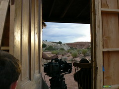Behind the Scenes - Camera crew prepares on the exterior set.