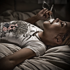 18/365 (jezikalyn) Tags: selfportrait americanflag smoking 365