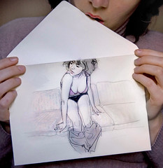 Special Delivery (RossinaBossioB) Tags: bridge selfportrait art very drawing creative strong conceptual between visceral rossinabossio donttakeittooseriously rossinabossiob nonevents dialoguewiththeradio nonholiday nothingsday gooddeliveries sealingenvelopes quiteabitinggreeting papercutonlips nothingsday sketchedfigurestudies imaginationintoflights