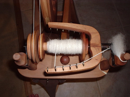 Alpaca - part way through the bobbin