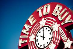 Wake up - TIME TO BUY! (dogwelder) Tags: california blue red sky clock star neon neonsign zurbulon6 liquorstore venturablvd encino tarzana zurbulon time