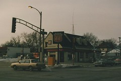 Old Phillips 66 gas station. (Gone.) La Grange Illinois. January 1987.