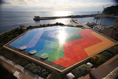 Vasarely Mosaic at Monaco Congress Center Auditorium (Ricardo Carreon) Tags: blue roof red orange verde green azul backlight contraluz rojo colorful honeymoon laranja montecarlo monaco vermelho feed naranja techo teto vasarely colorido supershot challengeyouwinner vasarelymosaic monacocongresscenter monacocongresscentre