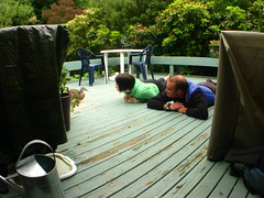 Feeding ducky with Cousin Rach in Dunedin, New Zealand