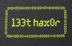 l33t hax0r (ponyinarope) Tags: computer crossstitch binary projects hax0r l33t l33thax0r