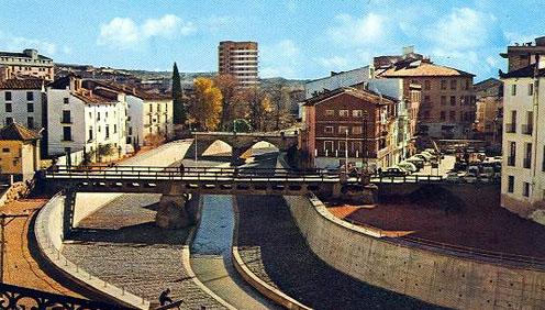 Barbastro y río Vero canalizado (finales años 60)