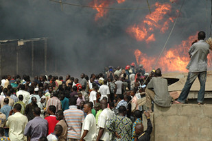 A pipeline explosion in Nigeria on May 15, 2008. This is a repeated occurence in the oil-rich west African nation, which has the continent's largest population. by Pan-African News Wire File Photos