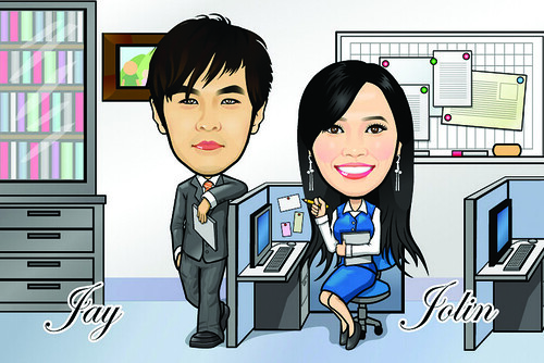 Q Digital Caricature Office Theme Drawing