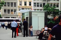 Waiting for the Toilet (poritsky) Tags: street nyc newyorkcity people film bathroom photography iso100 still nikon waiting fuji elevator toilet velvia fujifilm 100 nikkor f5 nikonf5 24120mmf3556gvr 24120 fujichromevelvia100rvp