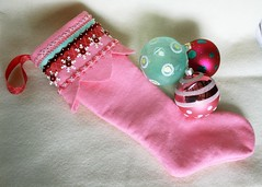 Christmas Stocking (a little bit of just because) Tags: christmas beads buttons felt ribbon stocking sequins handstitch
