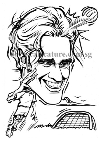 Caricature of Luca Toni ink outline watermark