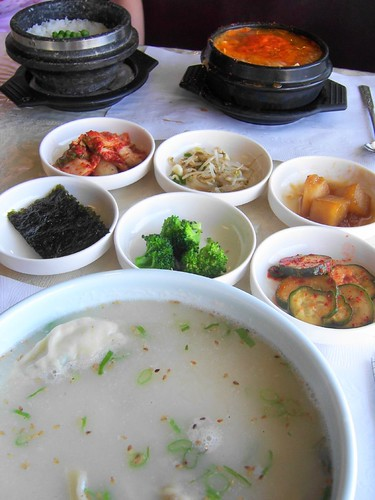 korean soup with sides