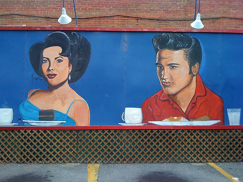 Elvis mural on the American City Diner in Chevy Chase - Taken With An iPhone