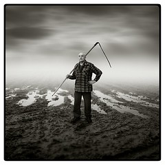 scythe (Michal Giedrojc) Tags: sky cloud man field clouds meadow ground tool scythe blueribbonwinner flickrsbest abigfave