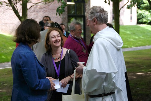 Jane Williams speaks with people at an afternoon tea held to welcome ecumenical guests. ACNS/Gunn