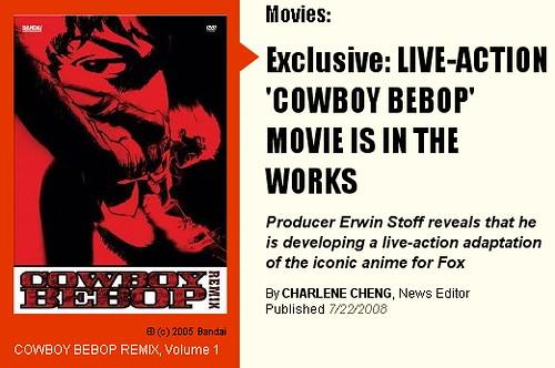 090624 - 好萊塢版電影『COWBOY BEBOP』編劇Peter Craig接受專訪,大談與渡邊信一郎、基努李維的愉快合作過程