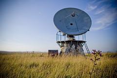 a communication disc in a field under a blue sky