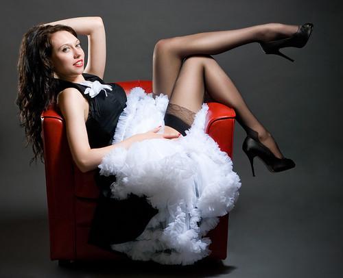 Brunette Lady in Nylon Stockings Photo