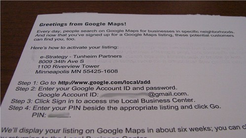 Google Local Business Center Postcard - Instructions
