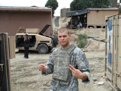 Andrew in the Korengal Valley Afghanistan. Andrew Katt, U.S. Army BCo 1-26