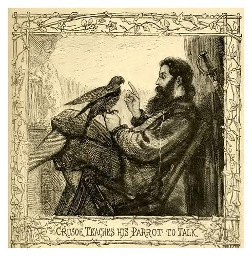 12- Crusoe enseña a hablar a su loro