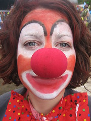 Lara Clown (Ben Hockman) Tags: mud clown rednose isleofwight fancydress muddy bestival iow clownmakeup clowndown robinhillcountrypark increasethepeace september08 bestival08