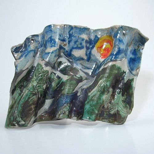 Etsy Decorative Mountain Scene Wall Tile