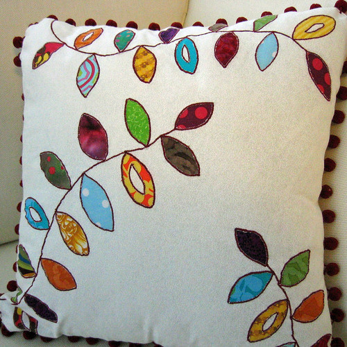 reverse applique pillow