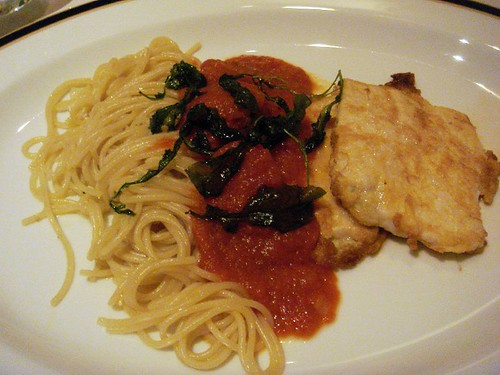 Milanese chicken with spaghetti