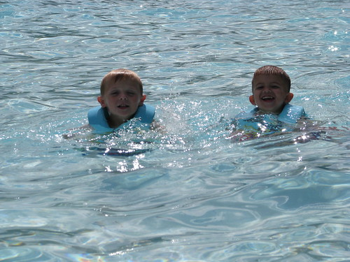 Brandon and Zach in wave pool