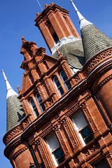 Prepared for ignition (archidave) Tags: city uk blue roof red england detail brick tower architecture bristol angle terracotta victorian style bank spire turret prudential waterhouse wonk cornstreet buildingsociety chhomney frenchrennaisance
