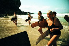 . (Rebecca...) Tags: uk ladies film beach smile xpro crossprocessed cornwall slide lomolca brr competitors chapelporth surfriders agfactprecisa200 nowetsuitsallowed 6thworldbellyboardchampionships