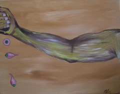 Power (thistledoo) Tags: abstract art yellow painting eyes acrylic arm muscle finger surrealism drop